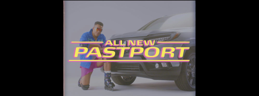 A screenshot of the Honda Pastport commercial that says Honda Pastport in stylized letters.