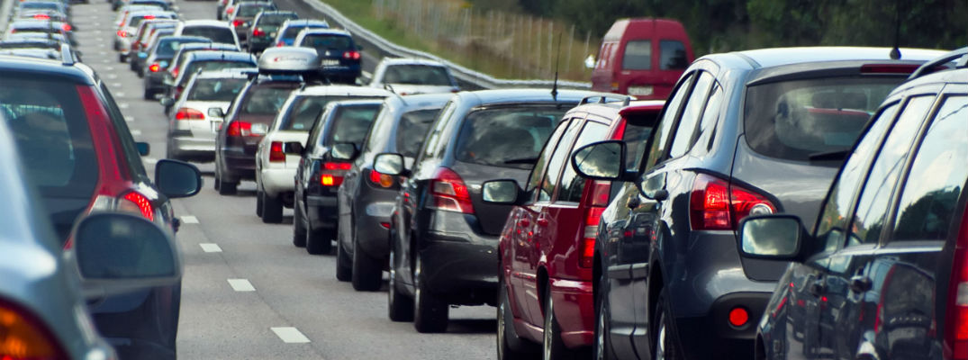 A stock photo of congested traffic on a highway.