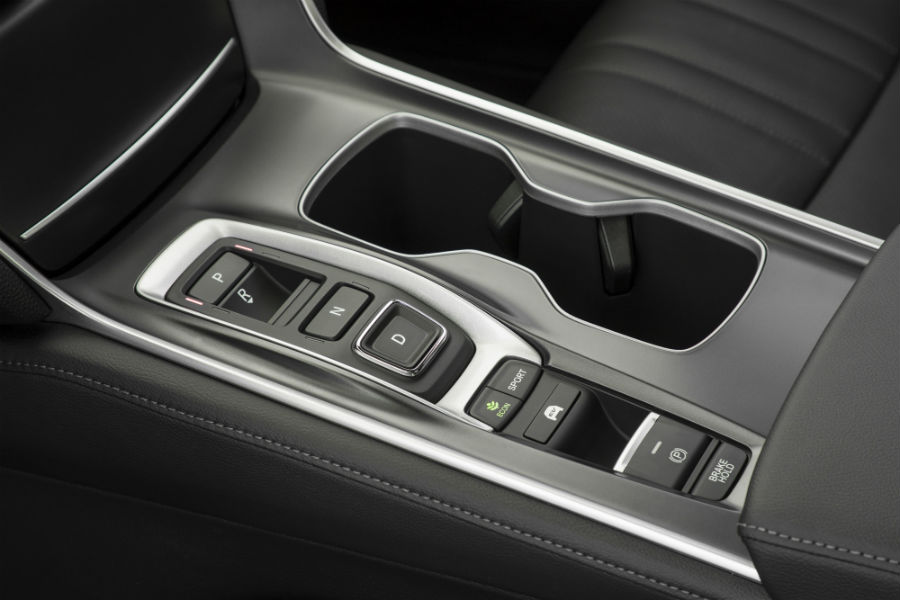 A photo showing the push button transmission and sport mode button in the Honda Accord.
