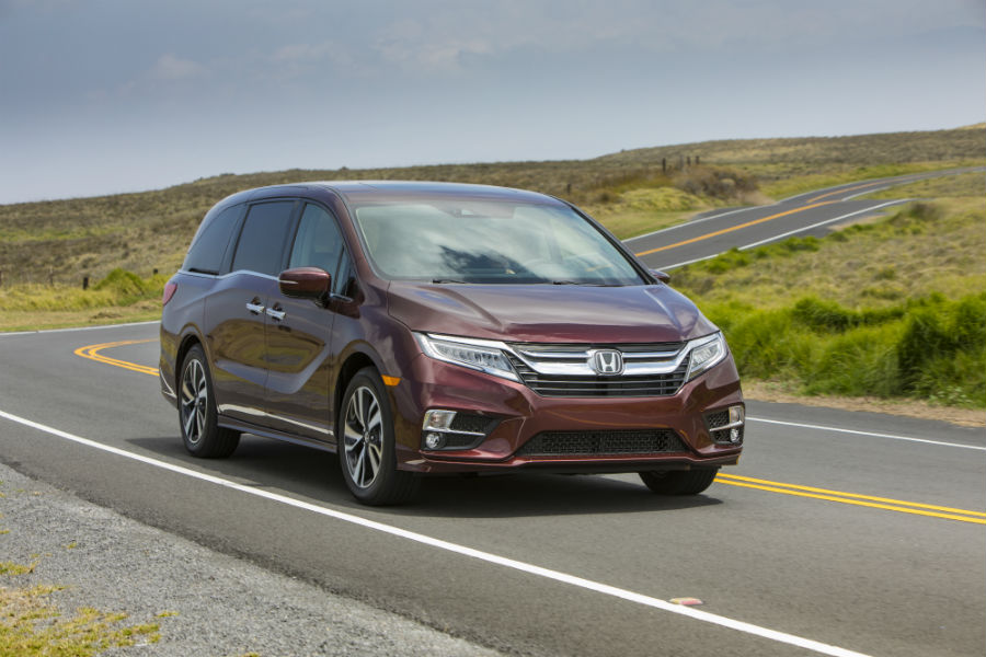 A photo of the 2019 Honda Odyssey on the road.