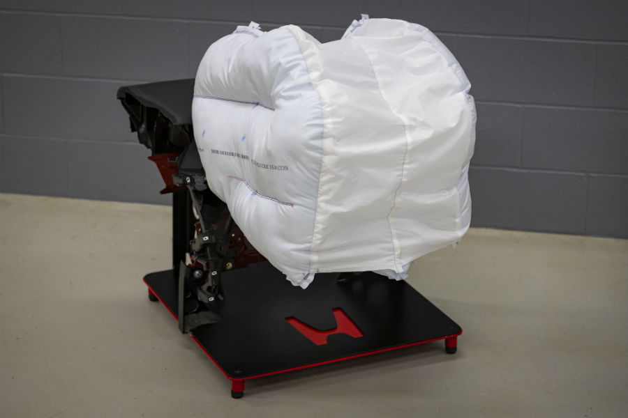 A photo of the new Honda airbag in a lab.
