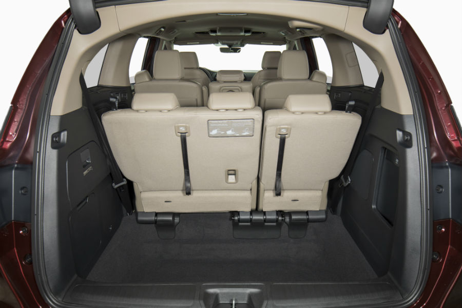 A photo of the cargo area in the 2020 Odyssey with the third row up.