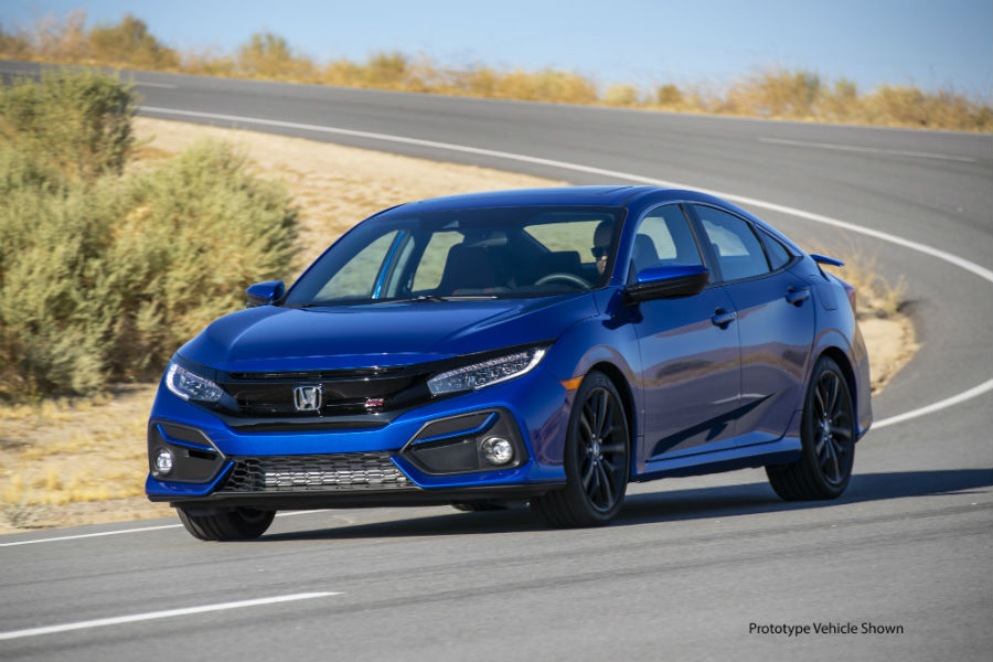 A photo of the 2020 Honda Civic Si Sedan on a road.