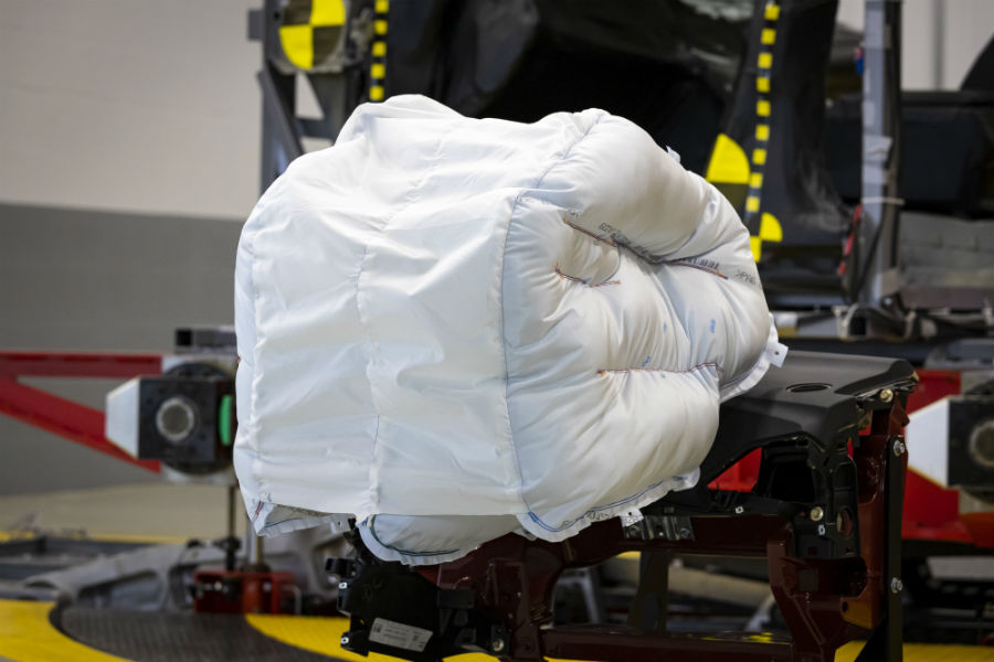 Another photo of the new Honda airbag in a testing lab.