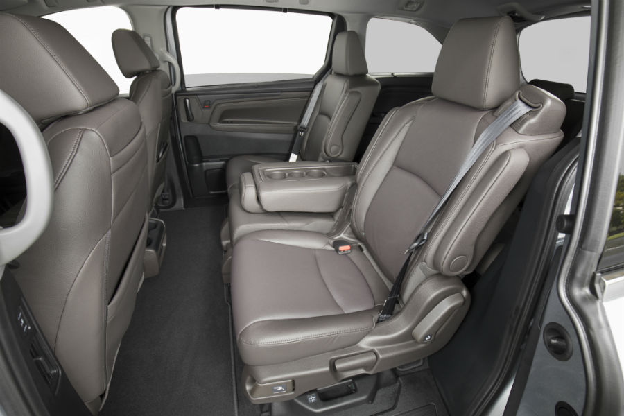 A photo of the second row of seats in the 2020 Odyssey.