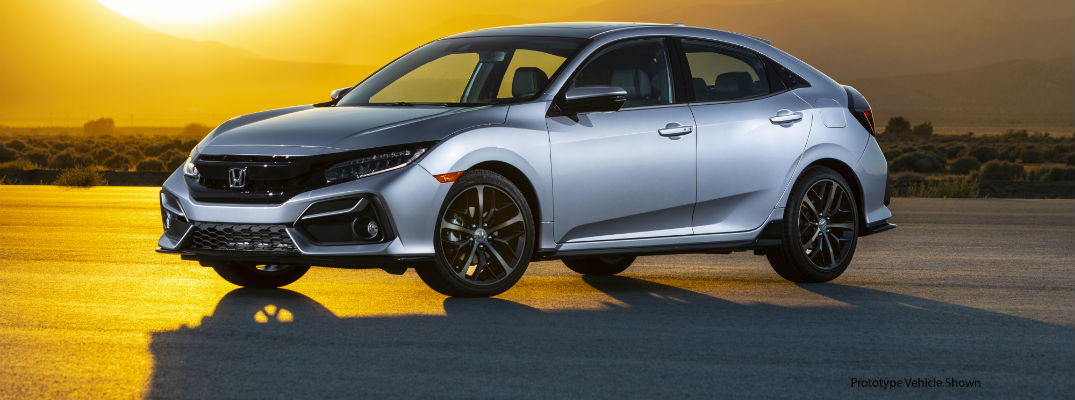 A left profile photo of the 2020 Honda Civic Hatchback Sport Touring.