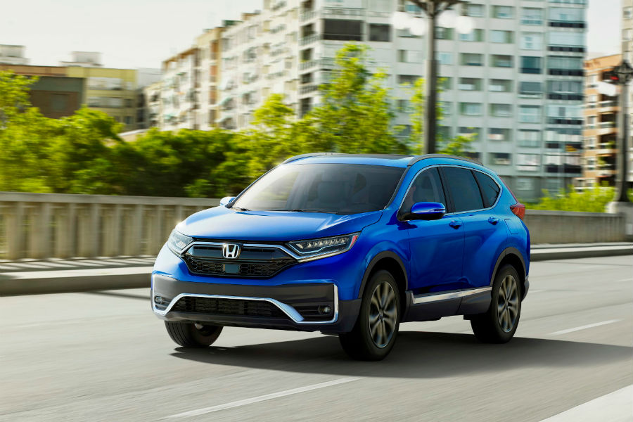 A photo of the 2020 Honda CR-V on the road.