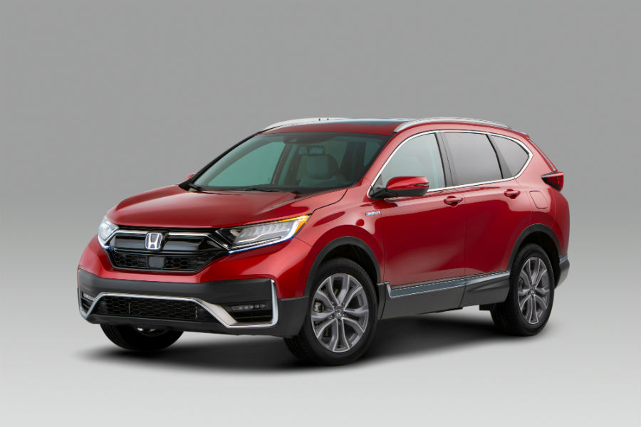 A front left quarter photo of the 2020 Honda CR-V Hybrid.