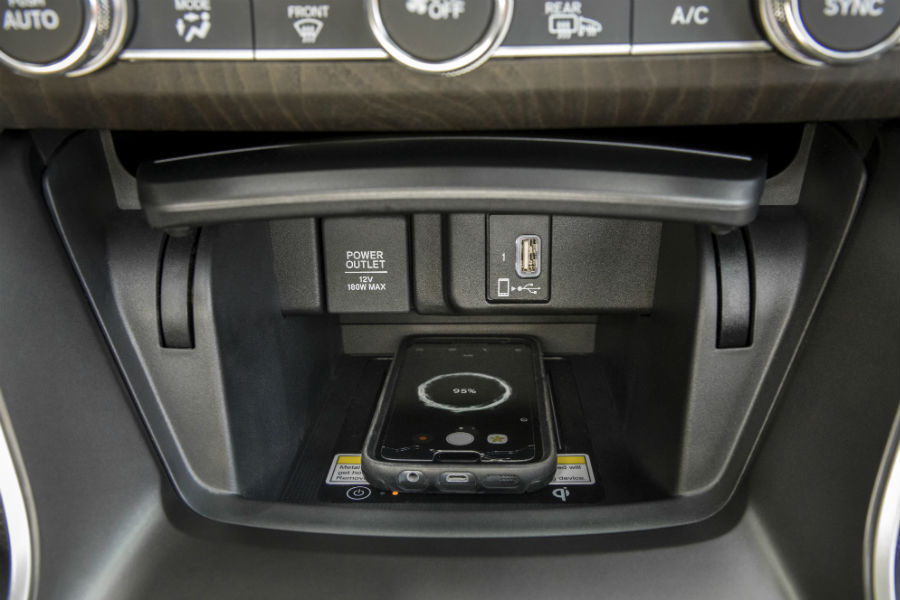 A photo of the wireless charging tray used in the 2020 Accord.