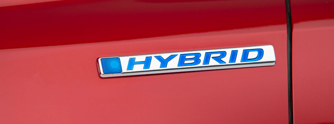 A photo of the hybrid badge that will be used on the 2020 Honda CR-V Hybrid.