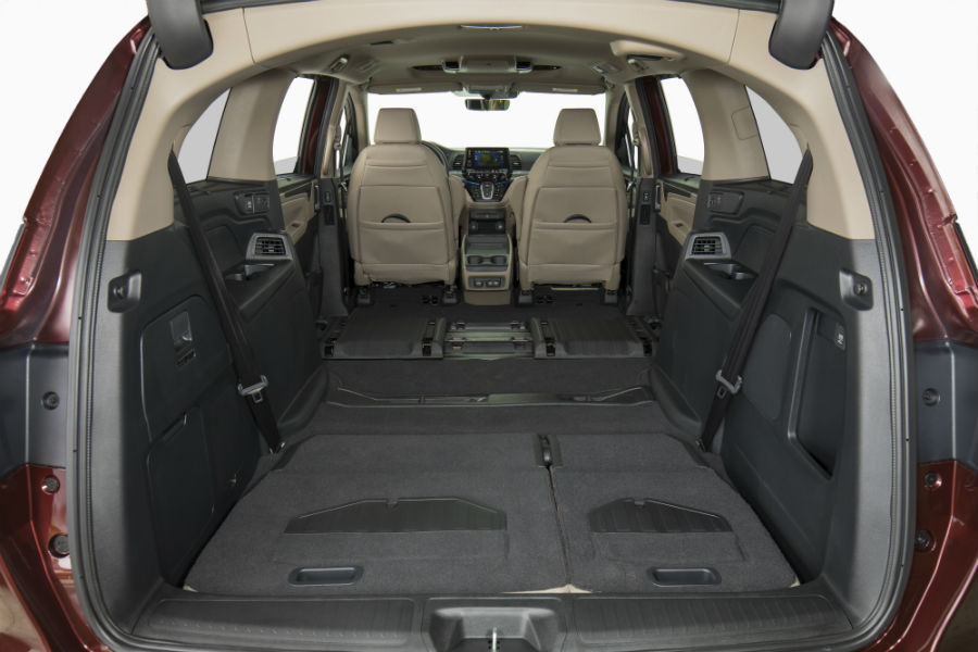 A photo of the maximum cargo configuration of the 2020 Honda Odyssey.