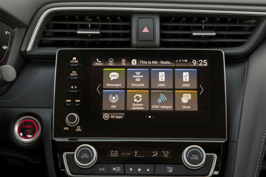 A photo of the touchscreen interface in the 2020 Honda Inight.