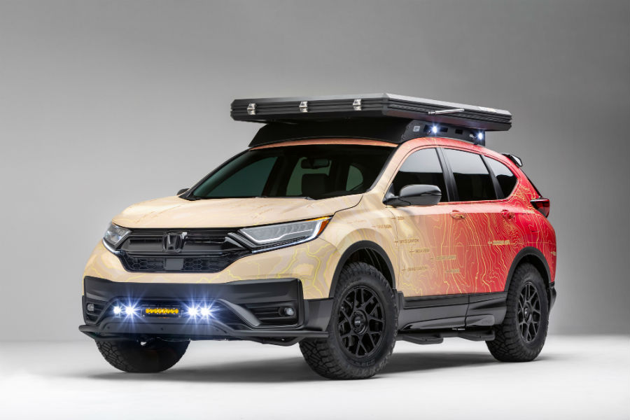 A photo of Honda CR-V with special equipment attached.