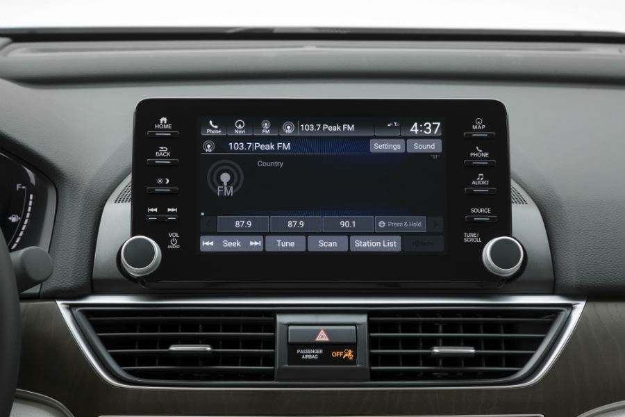 A photo of the audio screen on the touchscreen interface in the 2020 Honda Accord.
