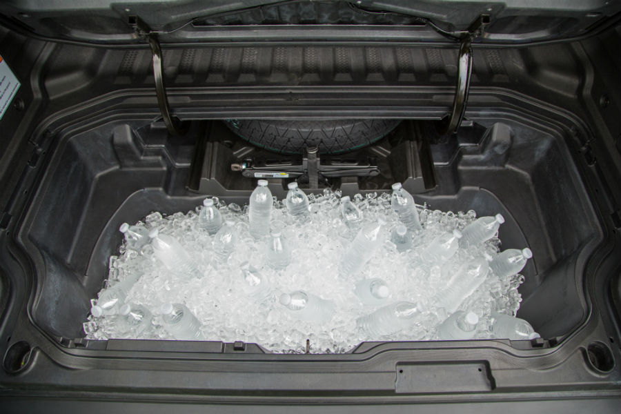 A photo of the In-Trunk storage compartment in the 2019 Ridgeline.