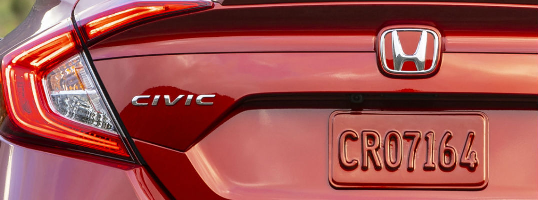 A photo of the Civic badge used on the back of the 2020 Honda Civic.