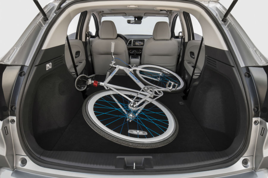 A photo of a bicycle in the cargo area in the 2020 Honda HR-V.