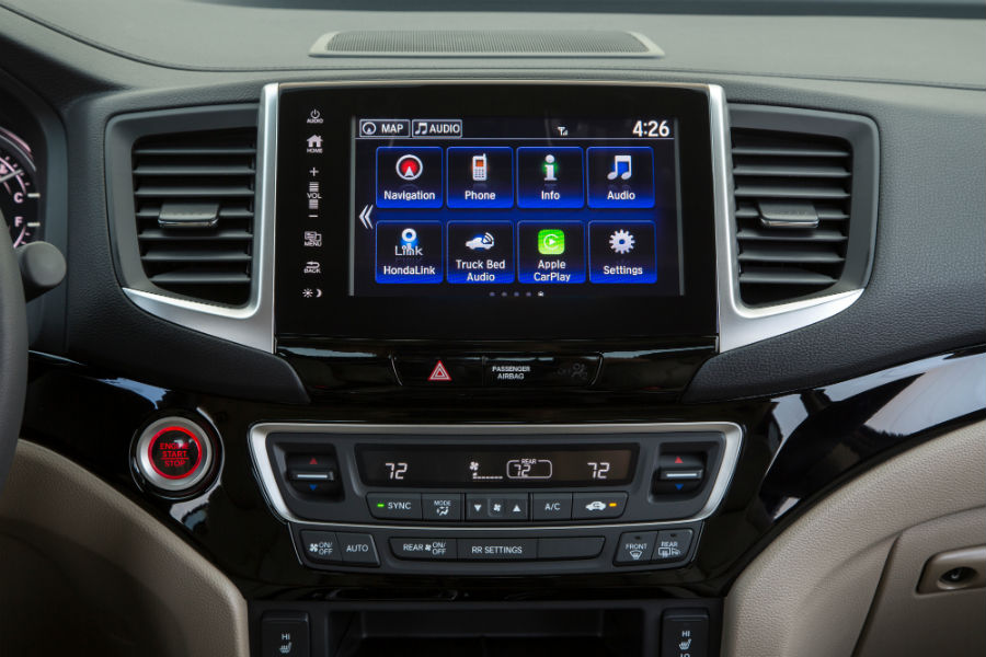 A photo of the touchscreen in the 2020 Ridgeline showing different functions.