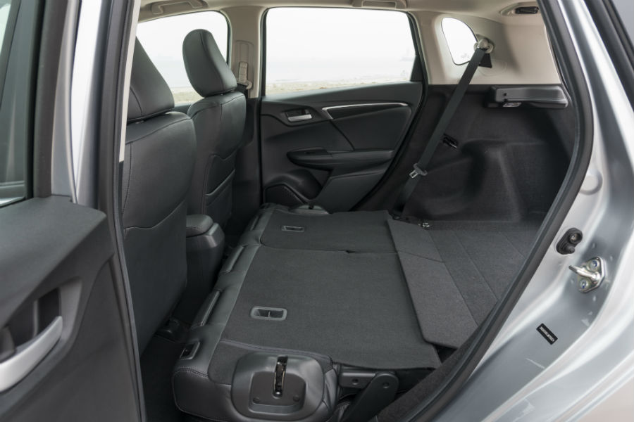 A photo of the rear seats folded down in the back of the 2020 Fit.