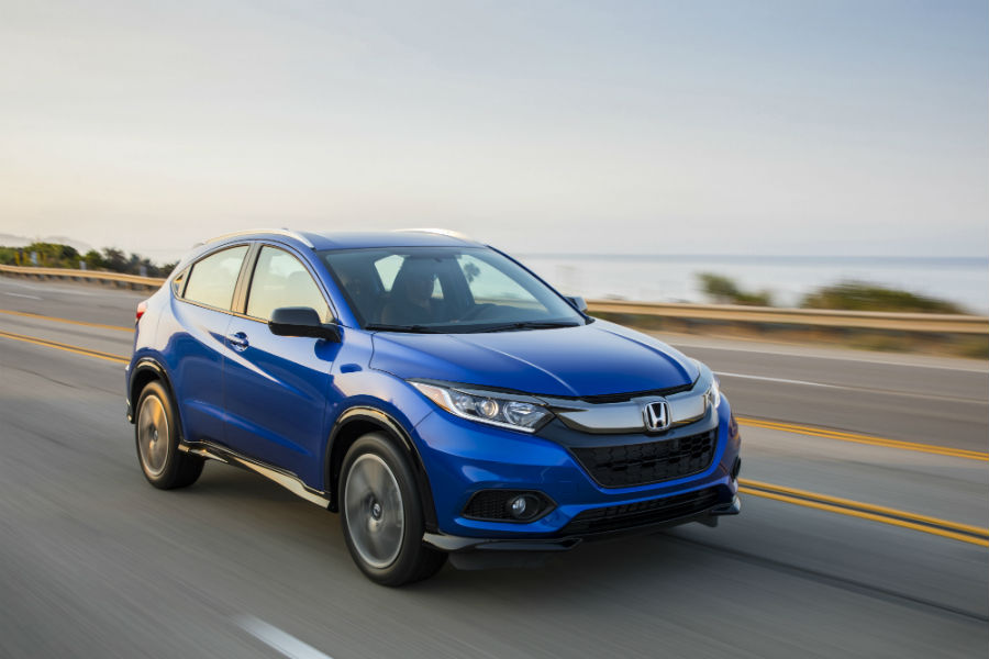 A front right quarter photo of the 2020 Honda HR-V on the road.