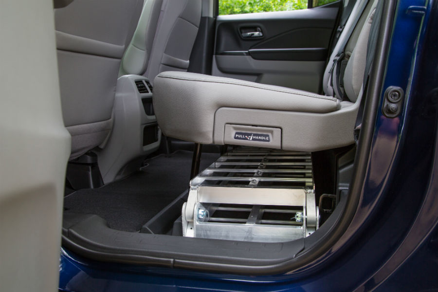 A photo of the storage capability in the back seat of the 2020 Honda Ridgeline.