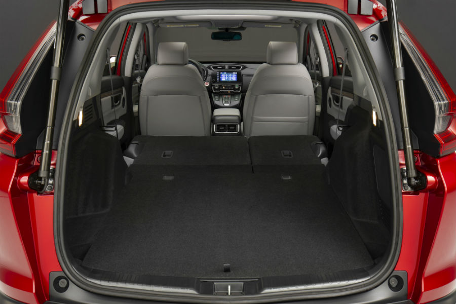 A photo of the cargo area in the back of the 2020 Honda CR-V Hybrid.