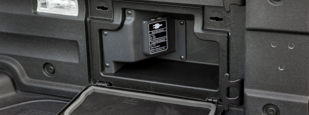 A photo of the power outlet used by the 2020 Honda Ridgeline.