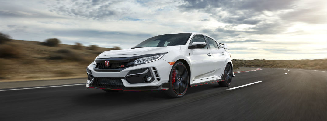 A front left quarter photo of the 2020 Honda Civic Type R.