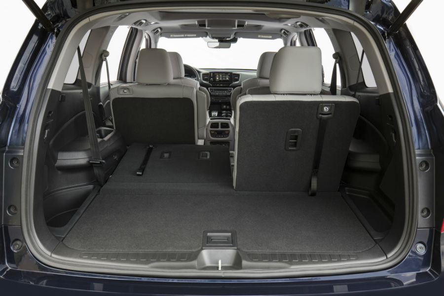 A photo of one of the interior cargo configurations in the back of the 2021 Honda Pilot.