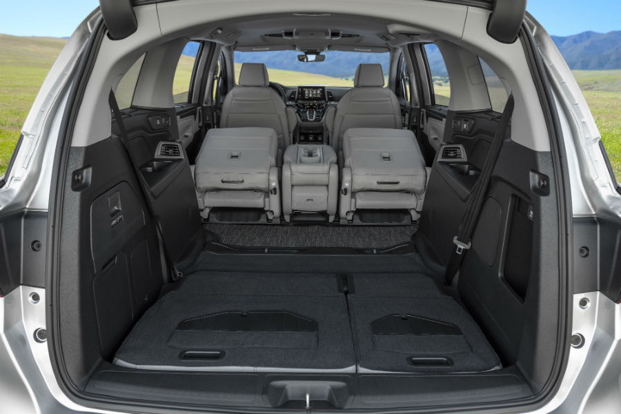 A photo of one cargo configuration in the back of the 2021 Honda Odyssey.