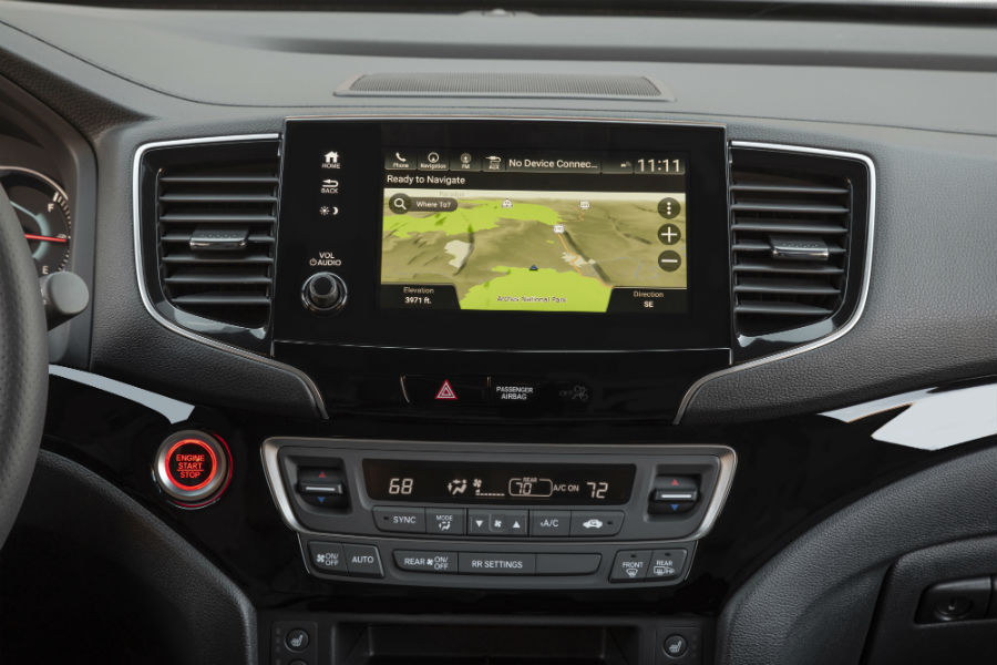 A photo of the touchscreen used by the 2021 Honda Passport displaying the available navigation system.