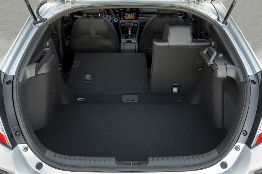 A photo of one of the cargo configurations in the back of the 2021 Honda Civic Hatchback.