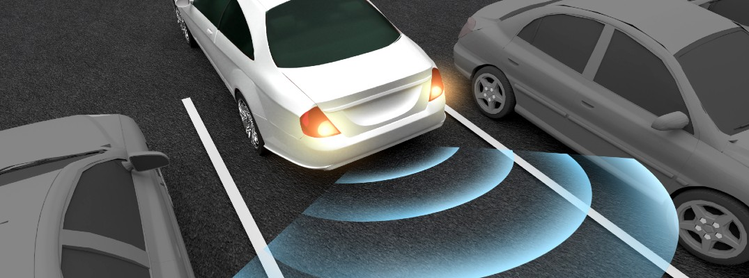 An illustration demonstration how parking sensors work by using sound to measure distance.