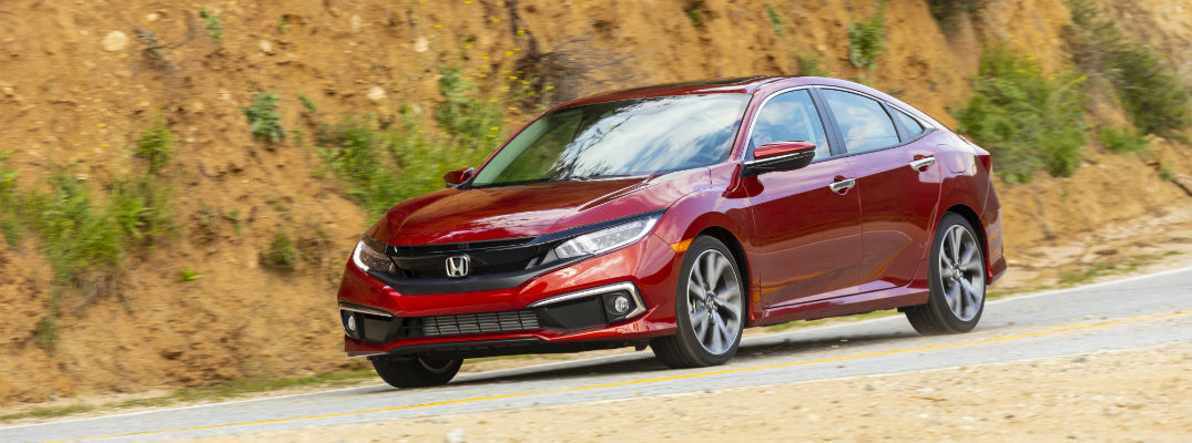 A front left quarter photo of the 2021 Honda Civic Sedan.