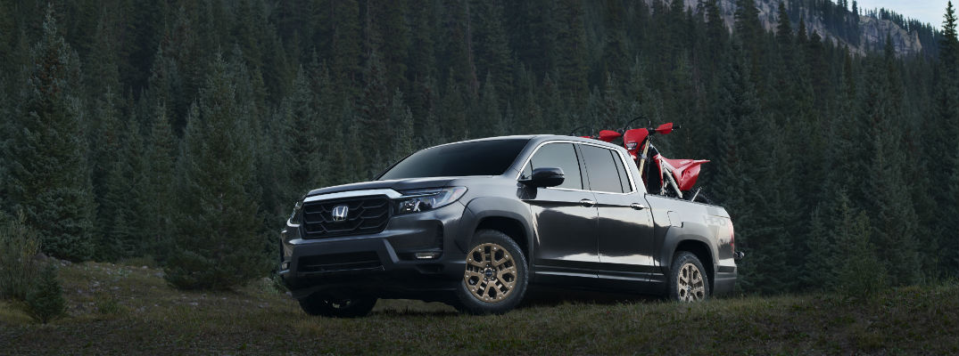 A photo of the 2021 Honda Ridgeline in the mountains.
