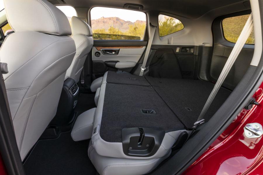 A photo of the rear seats folded down in the 2021 Honda CR-V Hybrid.