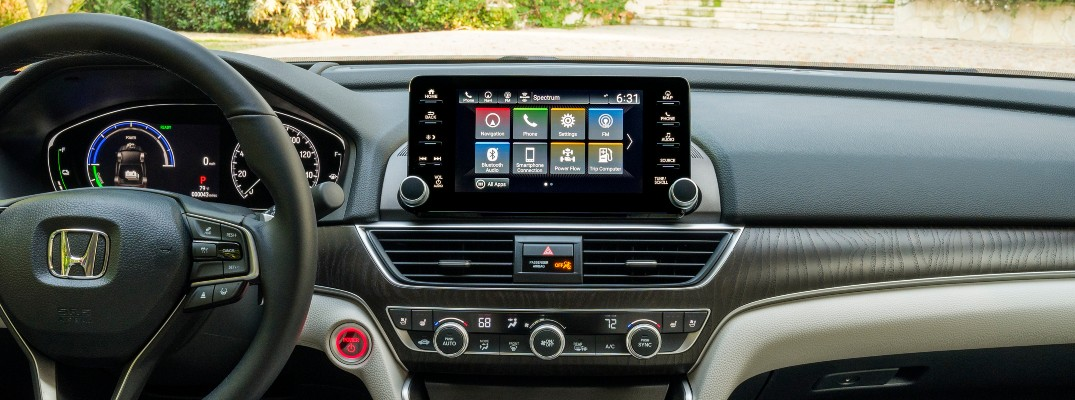 A photo of the infotainment system used in the 2021 Honda Accord Hybrid.
