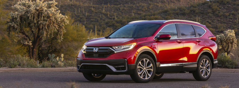 A left profile photo of the 2021 Honda CR-V Hybrid.