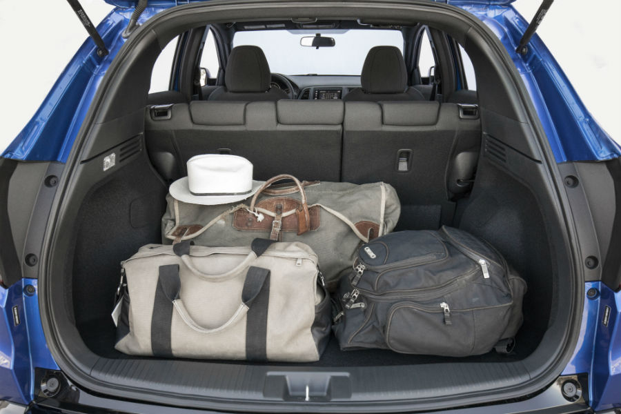 A photo of luggage in the back of the 2021 Honda HR-V.