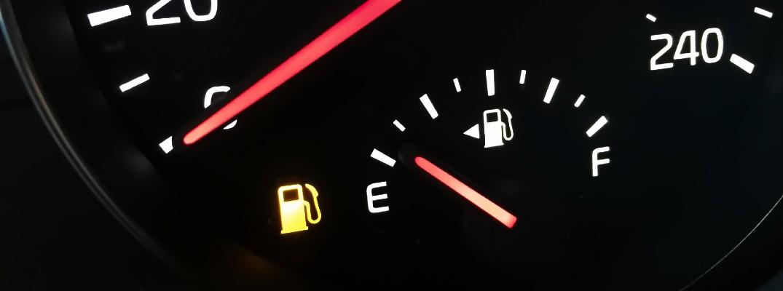 A stock photo of a gas gauge near empty.