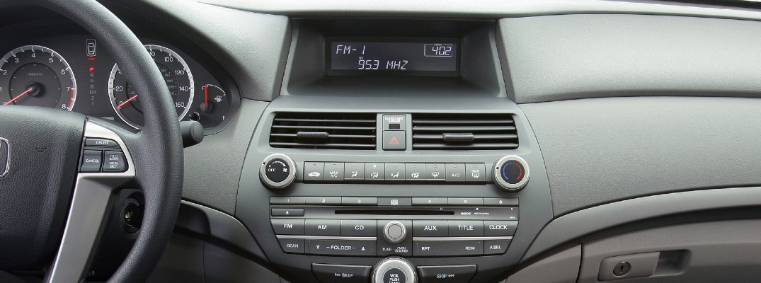 A look at the radio used by an older model Honda sedan.