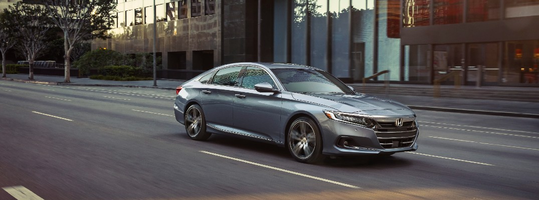 A front left quarter photo of the 2021 Honda Accord.