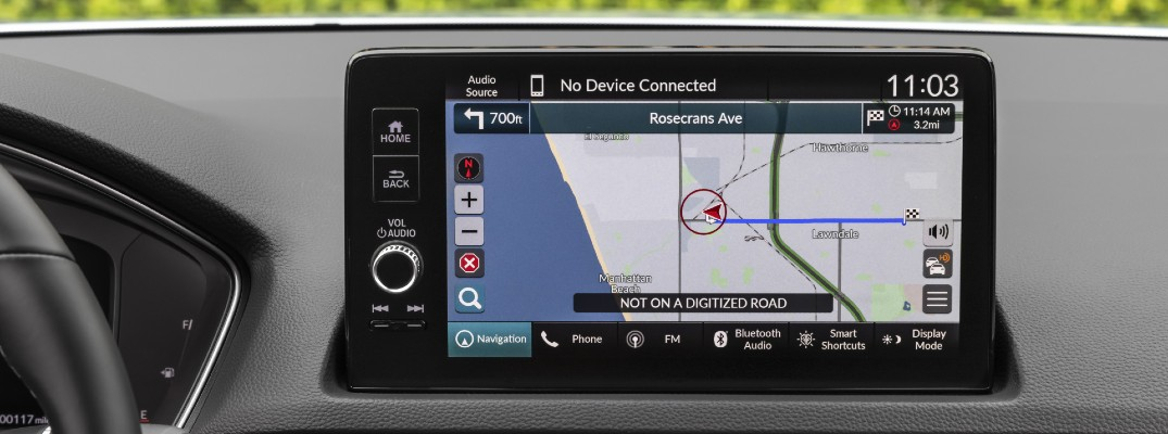 A touchscreen used by a Honda vehicle showing a map.
