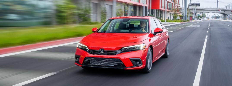 The 2022 Honda Civic Sedan on the road.