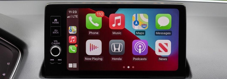 Close Up of 2022 Honda Civic Touchscreen Display with Apple CarPlay