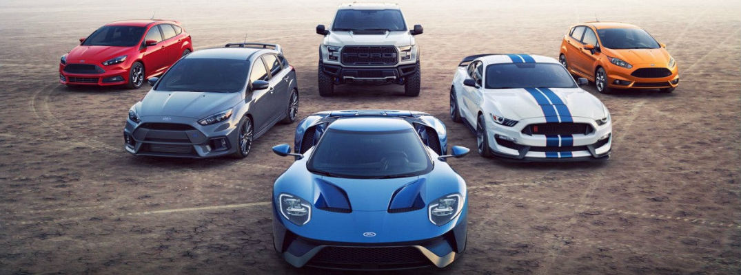 Ford Performance Lineup With Red Ford Focus St Gray Ford Focus Rs Blue