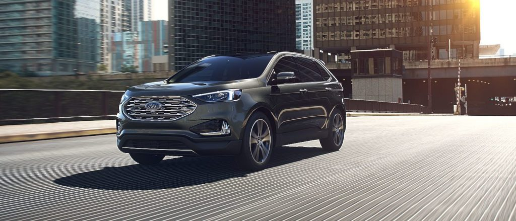 Baltic Sea Green 2019 Ford Edge Front Exterior On Freeway