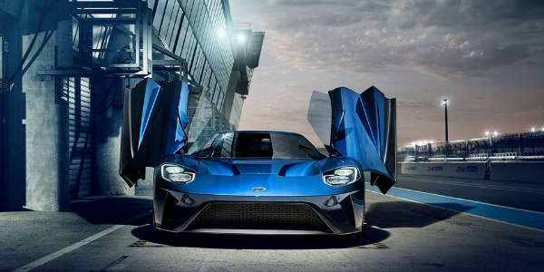 Blue  Ford Gt Front Exterior At The Track With Gullwing Doors Open