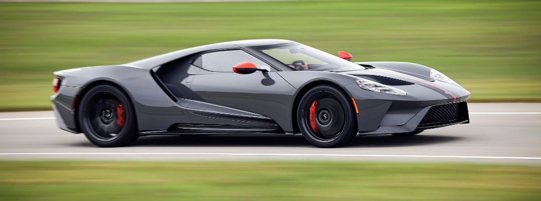 Gray, Black and Red 2019 Ford GT Carbon Series on the Track