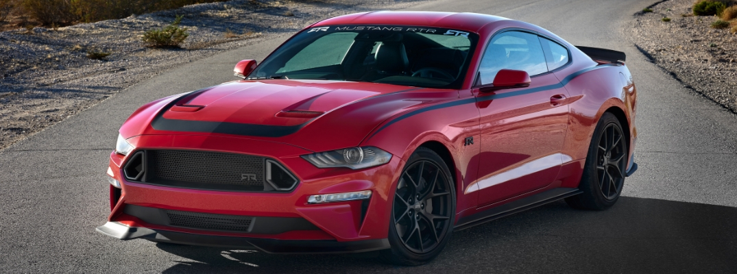 Red 2019 Ford Mustang RTR on a Desert Highway